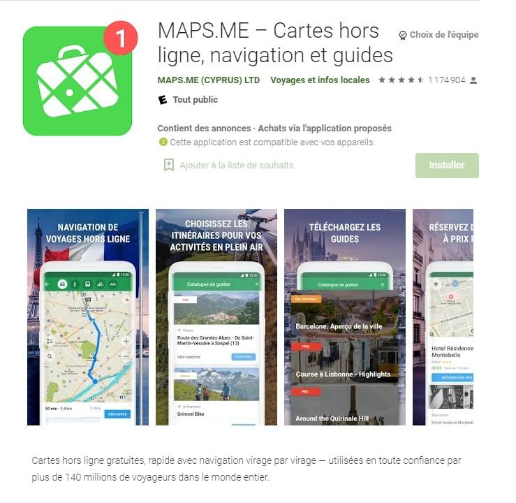 Maps.me, disponible également sur Android